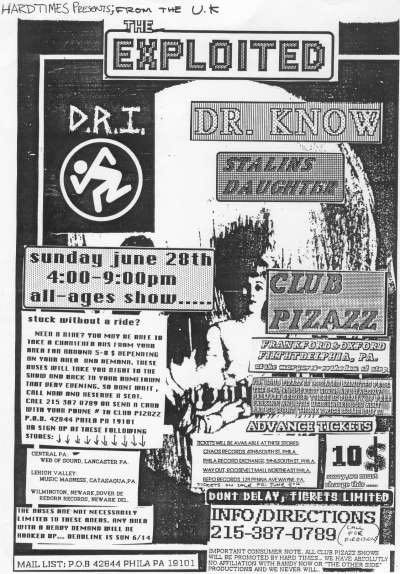 The Exploited Dr Know Life Sentence DRI Flyer